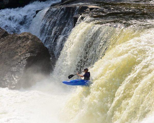 Ohiopyle Kayaker runs waterfall