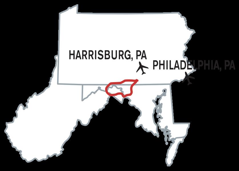 Gettysburg bike tour locater map